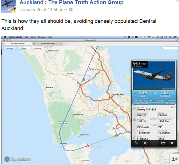 Auckland airport flight path from west