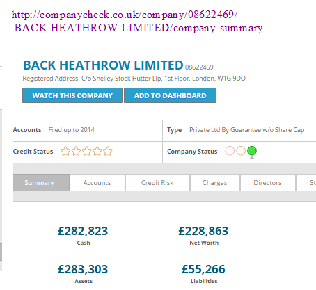 Back Heathrow accounts £282,863 net worth