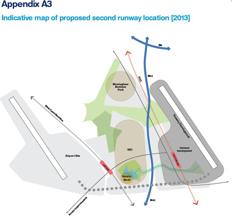 Birmingham indicative map of proposed 2nd runway