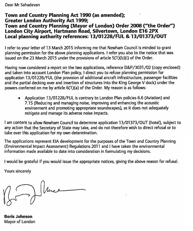 Boris London City permission