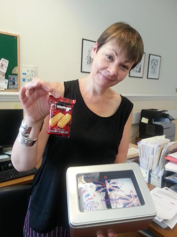 Caroline Lucas with the shortbread