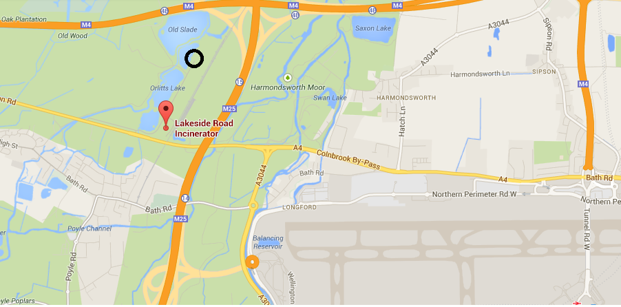 Colnbrook incinerator location with proposed black circle