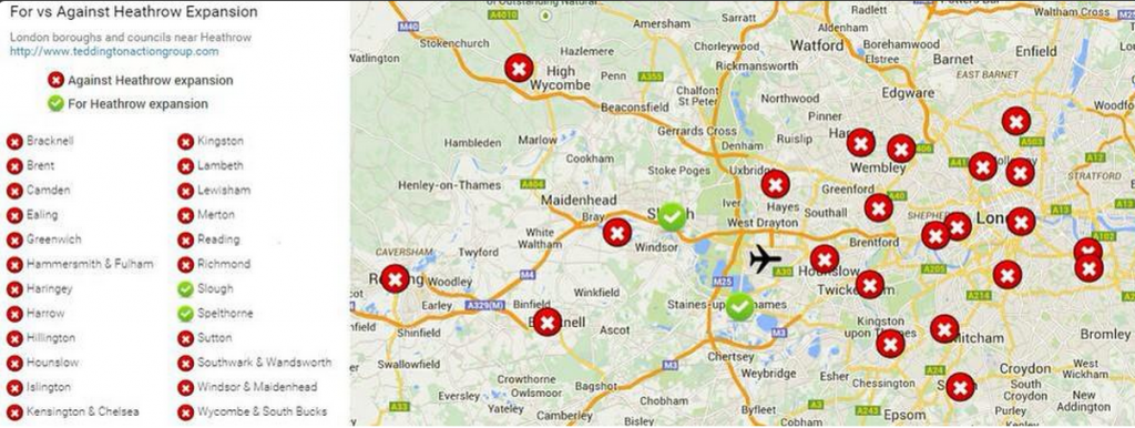 Councils For vs. against Heathrow Expansion