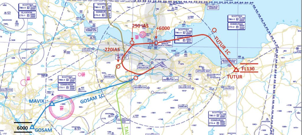 Airportwatch edinburgh airports new tutur flight path trial edinburgh airport current 3 routes and new trialled one tutur publicscrutiny