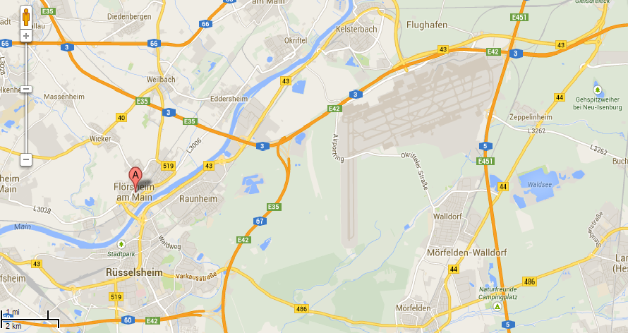 Frankfurt airport and suburbs