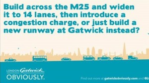 Gatwick advert about M25