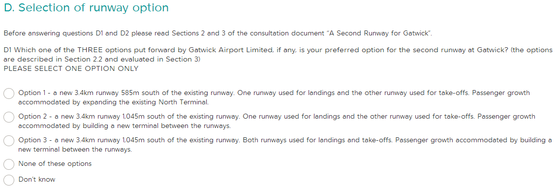 Gatwick consultation NO option