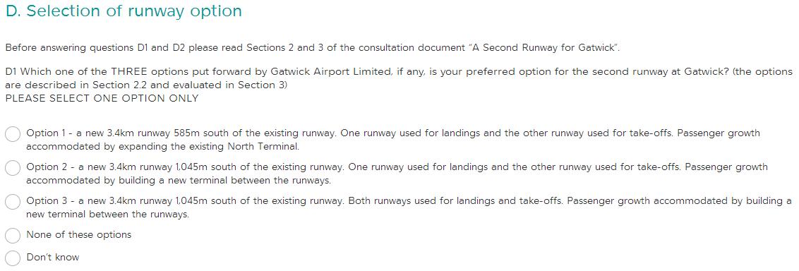 Gatwick consultation NO option