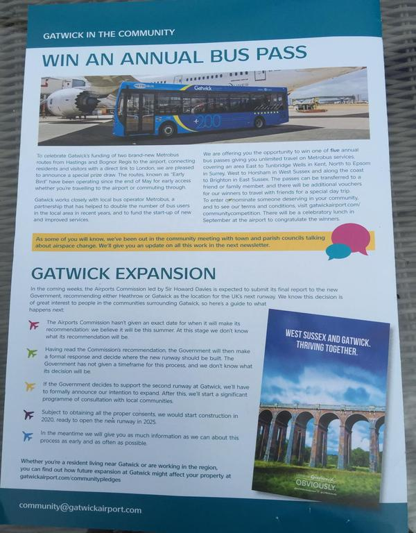 Gatwick free leaflet drop June 2015 1