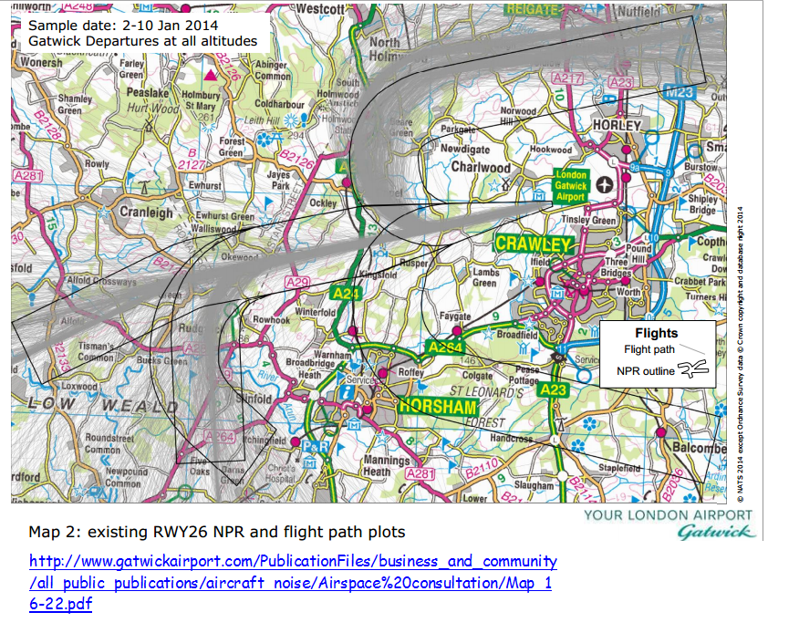Gatwick map showing Reigate area flight paths 2014