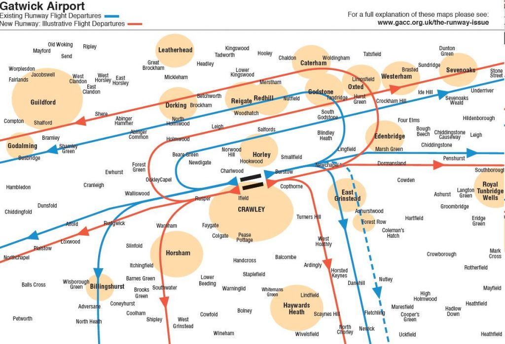 Gatwick new runway indicative departure flight paths