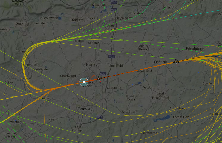 Gatwick's Casper flight tracks map Reigate