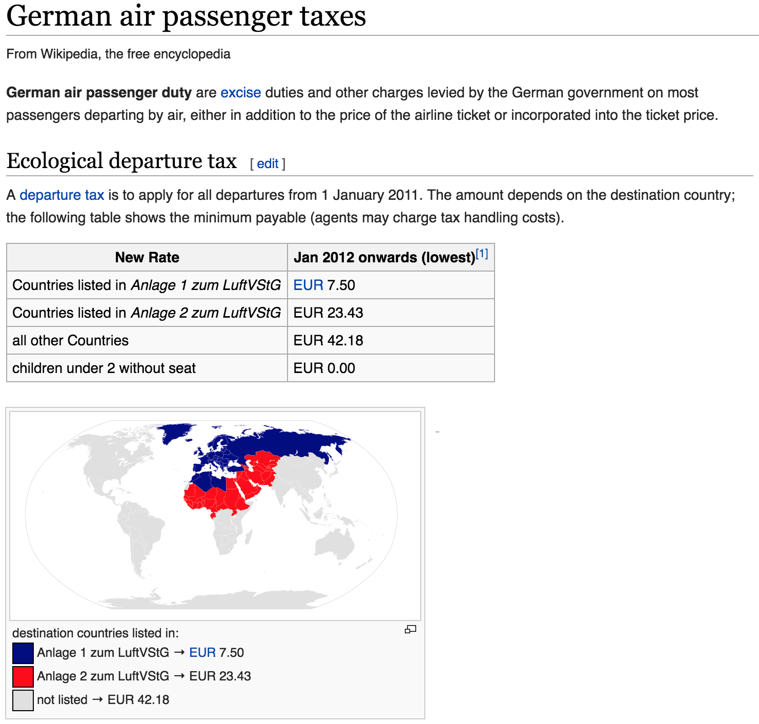 German air passenger taxes
