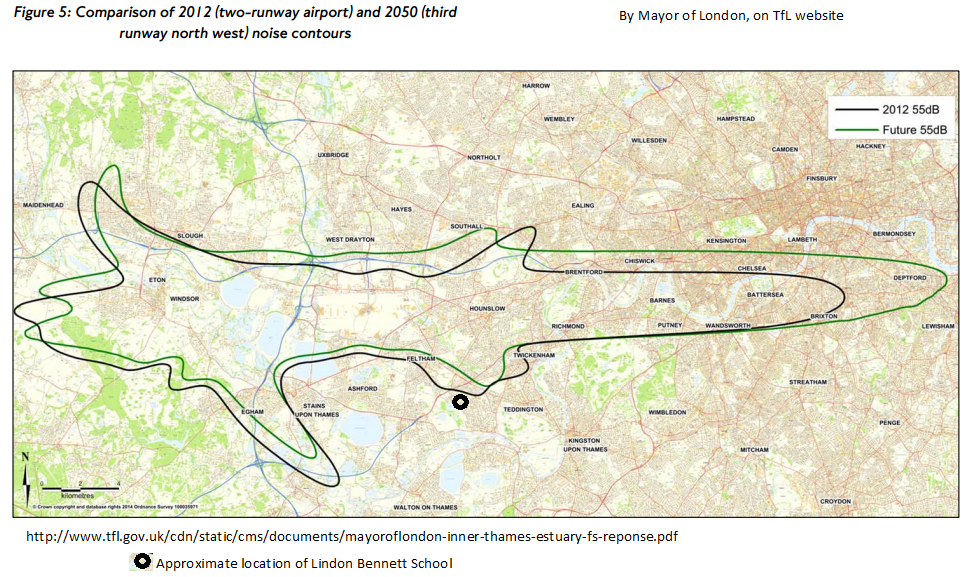 Heathrow 2012 55 Lden contour map showing location of Lindon school