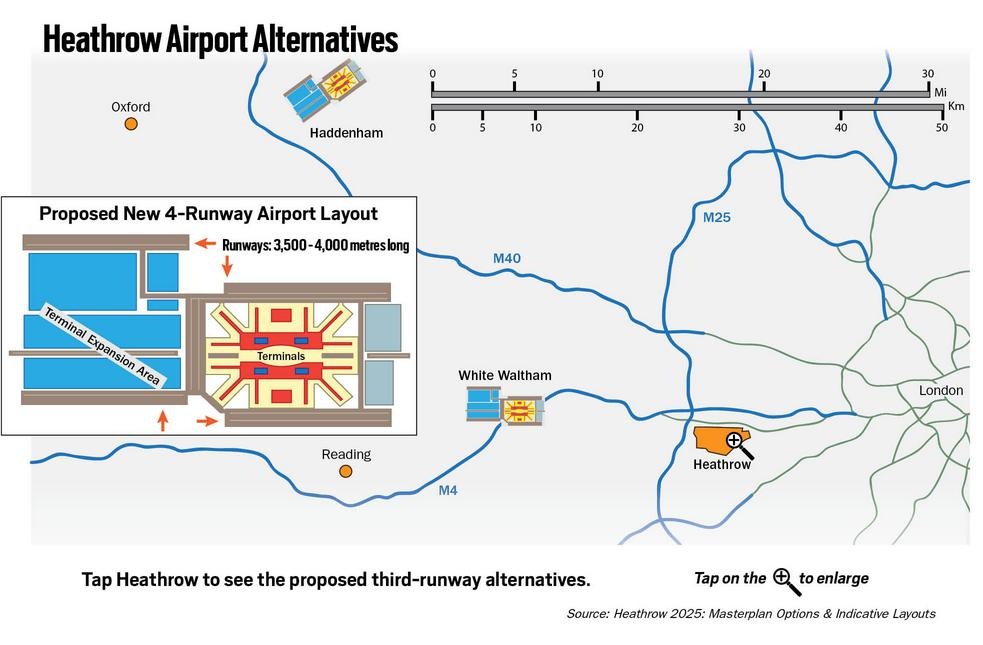Heathrow 4 runway plans for Haddenham and White Waltham