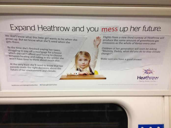 Heathrow advert little girl subvertised Nov 2014