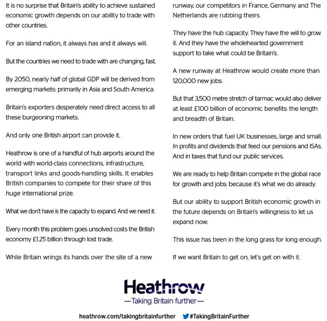 Heathrow advert text
