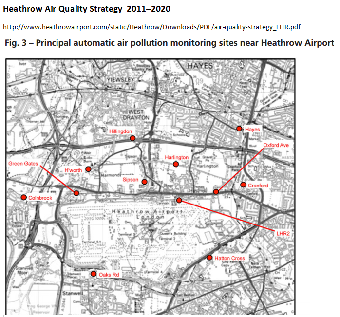 Heathrow air pollution monitoring sites from Air Quality Strategy 2011 - 2020