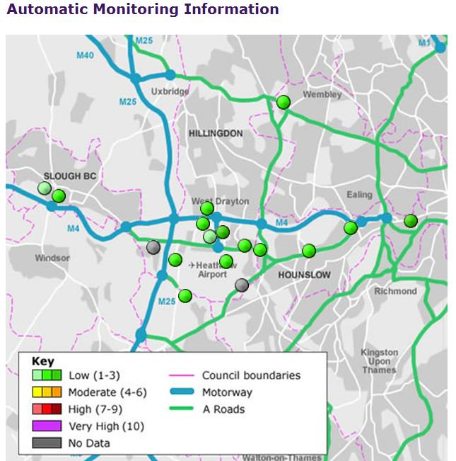 Heathrow area air quality monitors