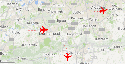 Heathrow webtrak  Reigate 3.8.2014
