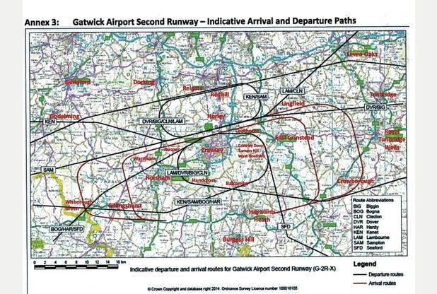 Indicative Gatwick flight path maps