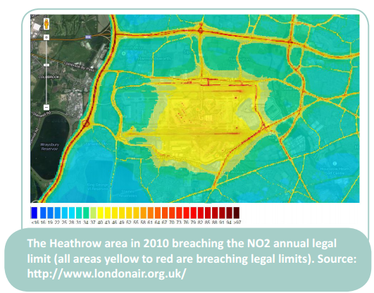 Local air pollution 2010 in Heathrow area