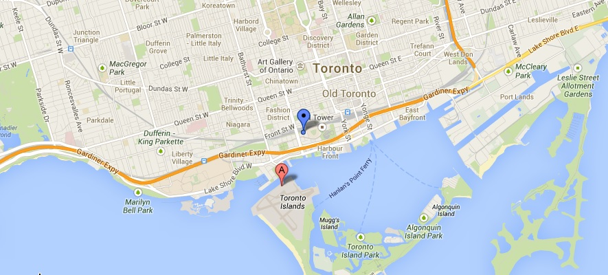 Location of Billy Bishop airport