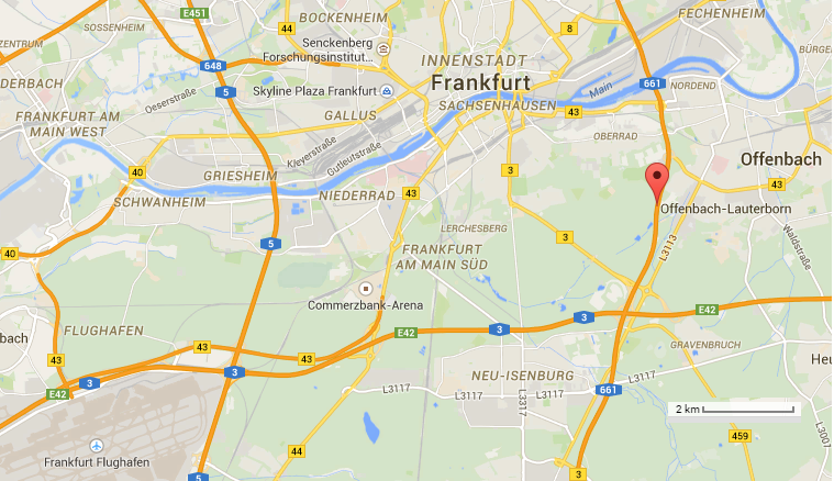 Location of Frankfurt A661 and fallen flap