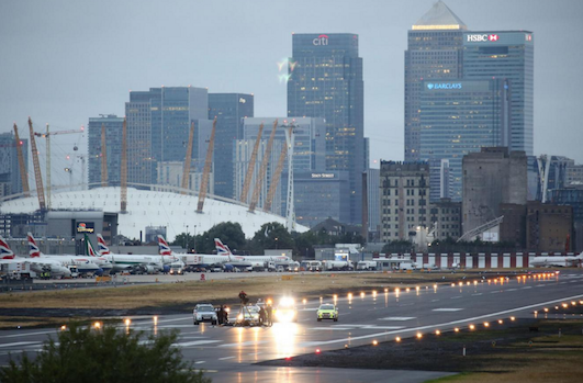 London city runway occupation