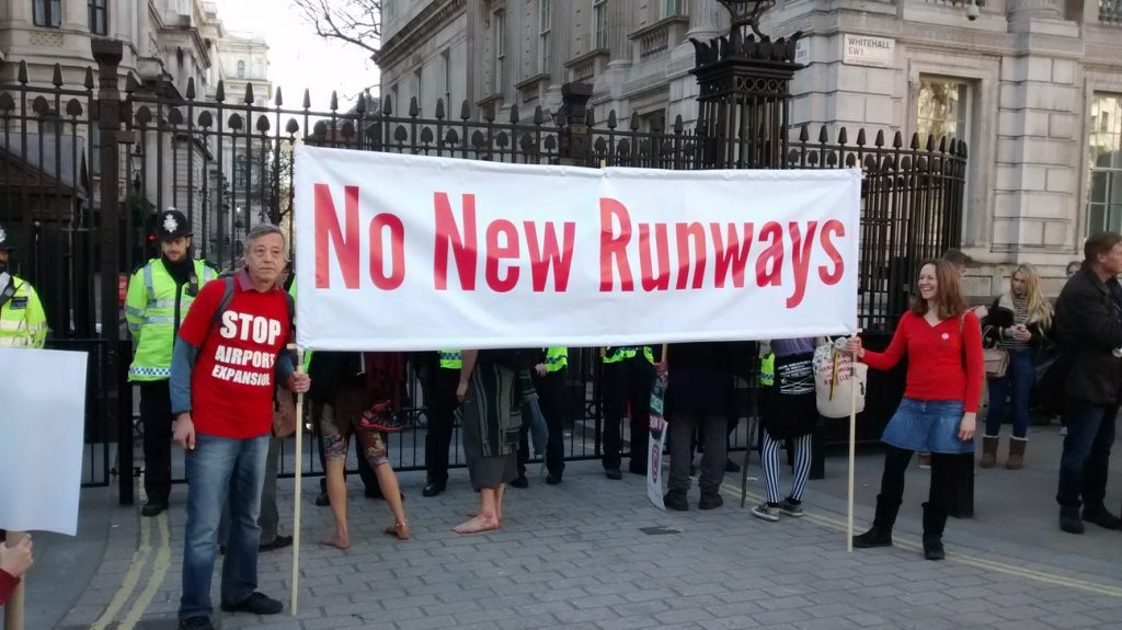 No New Runways outside Downing Street gate