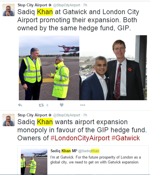Sadiq Khan Gatwick and London City