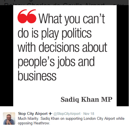 Sadiq Khan can't play politics 19.11.2015