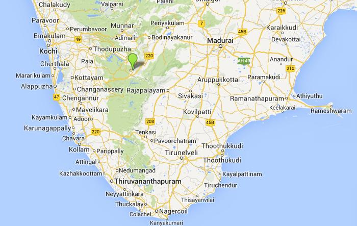 Southern India Anakkara airport location