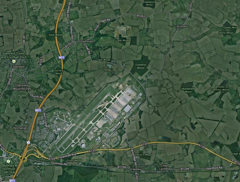 Stansted airport aerial view now 2013