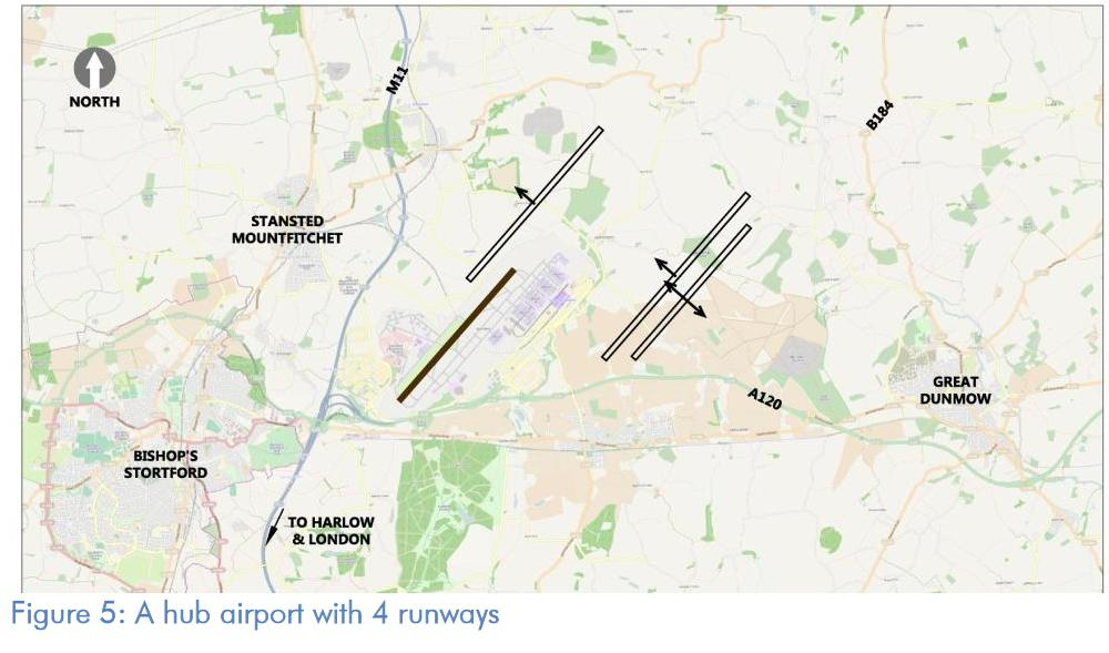 Stansted hub airport with 4 runways