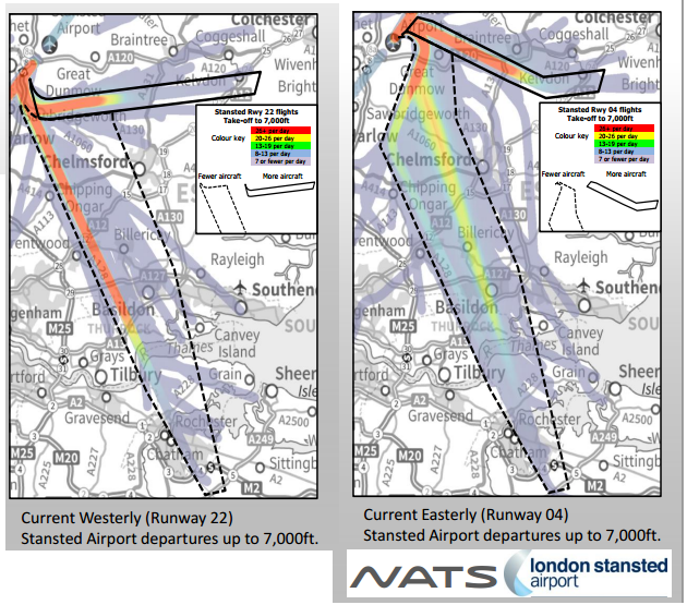 Stansted proposed flight path change July 2014