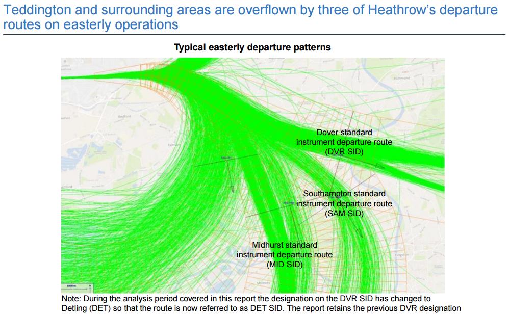 Teddington 3 easterly departure routes