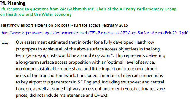 TfL costs of surface access Heathrow