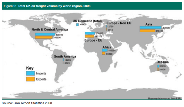 UK air freight imports exceed exports map from CAA DfT