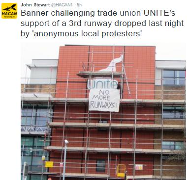Unite union banner drop 6.2.2016